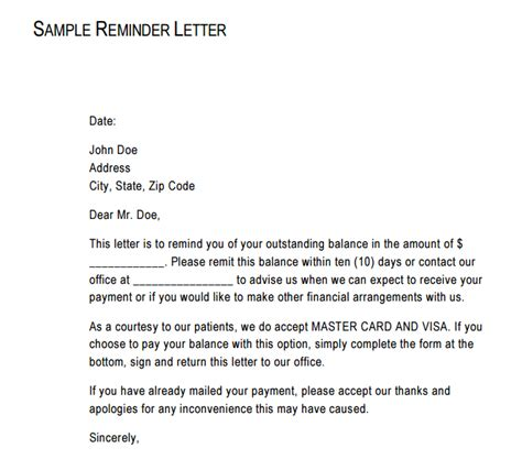 payment reminder writing professional letters