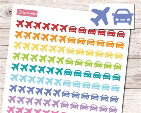 printable stickers for bullet journal airplanes and automobiles printable planner stickers