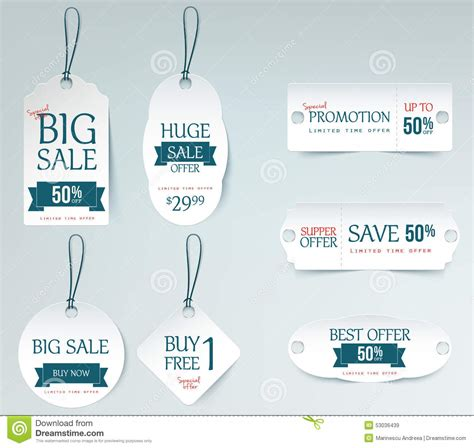 Price Card Template by Sale Price Tag Paper Card Template Stock Vector Image