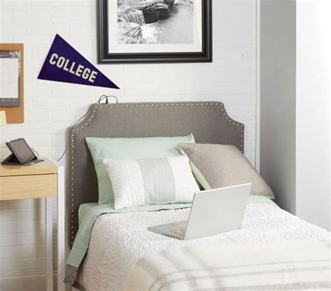 the powered college headboard light grey college