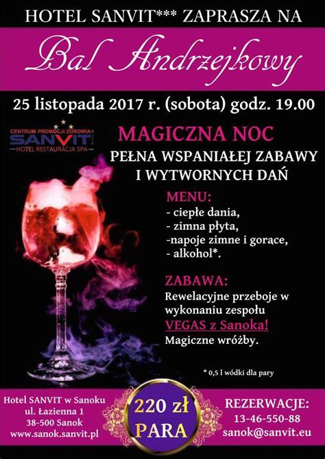 Plakat Andrzejkowy by Hotel Sanvit Zaprasza Na Niezapomniany Bal Andrzejkowy