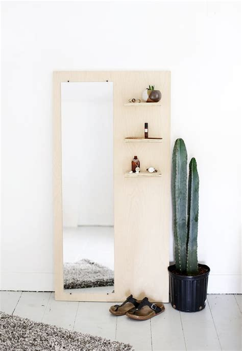 diy plywood floor mirror with shelves themerrythought merry diy pinterest shelf ideas