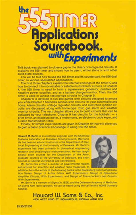 indiana integrated circuits inc the 555 timer applications sourcebook with experiments