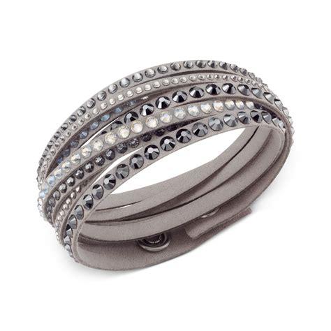 Swarovski Light Gray Fabric Crystal Stud Wrap Bracelet in Silver (NO COLOR)   Lyst
