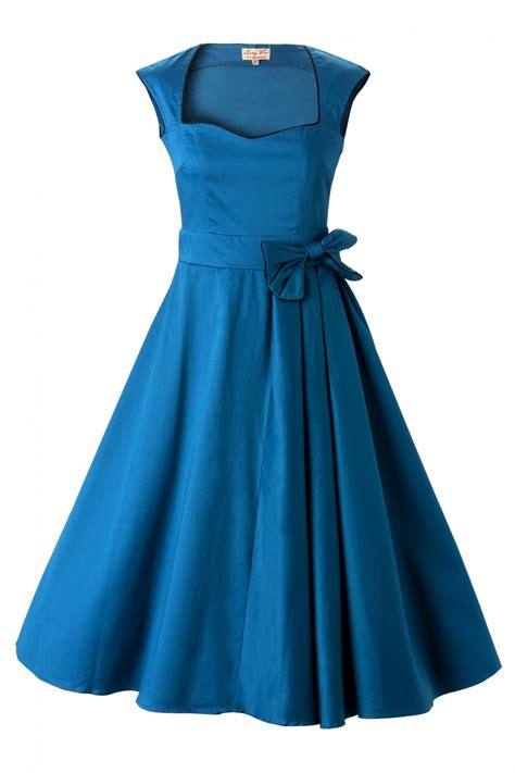 kleidung swing 1950 s grace blue bow vintage style swing rockabilly e