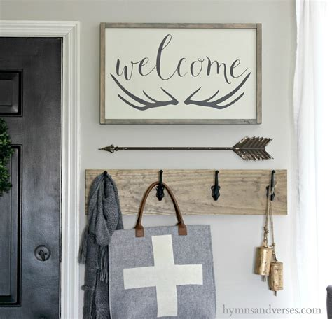 Antler Home Decor winter entry welcome antlers sign hymns and verses