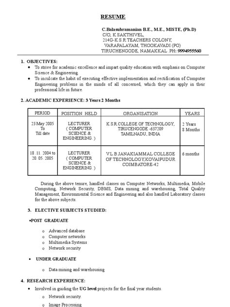 sle resume for experienced lecturer in computer science sle resume for experienced lecturer in computer science