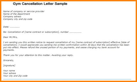 cancellation letter to fitness connection 8 membership cancellation letter sales slip template
