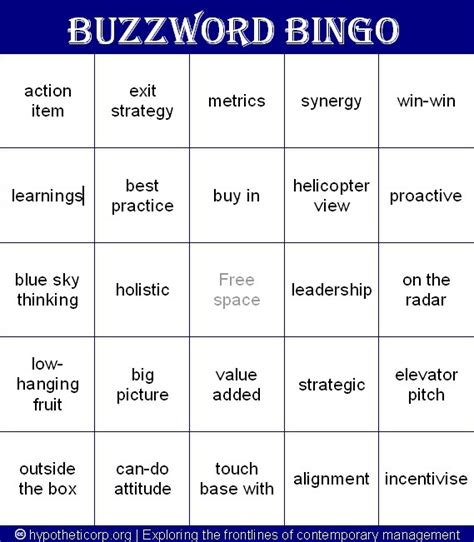Mba Jargon Words by Buzzword Bingo Play This At Your Next Meeting