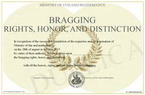 bragging rights honor and distinction