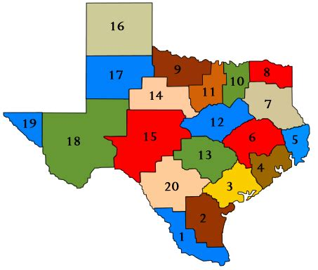 texas school district map by region education service centers map