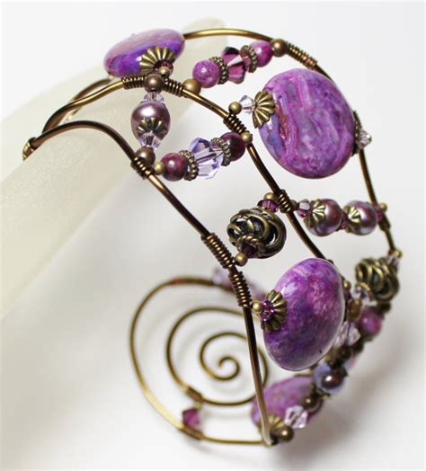 Etsy Handmade Beaded Jewelry - handmade jewelry bracelet beaded wire cuff gemstone purple