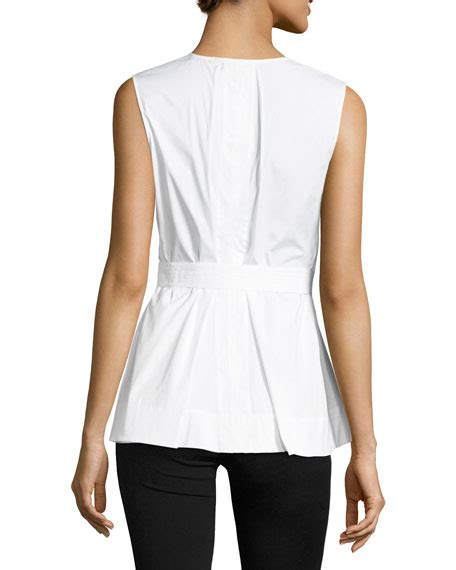 theorydesza cotton top with peplum theory desza stretch cotton belted peplum top