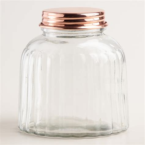 glass jars vintage style ribbed glass jar with copper lid world market