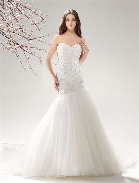 beaded tulle strapless mermaid wedding dress with