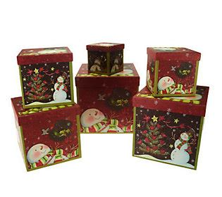 qvc christmas packaging susan winget set of 6 stacking boxes by valerie qvc