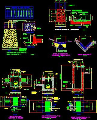 details  pluvial drainages dwg section  autocad