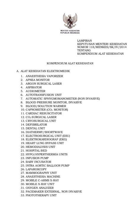 Alat Kesehatan 2014 permenkes no 118 tahun 2014 tentang kompendium alat kesehatan