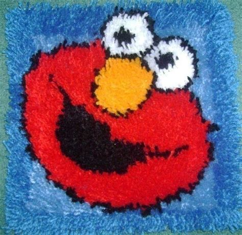 elmo rug latch hook elmo 183 a patches 183 yarn craft on cut out keep 183 creation by court court