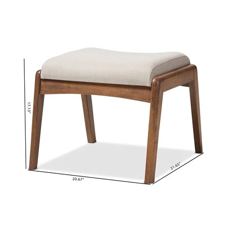 Upholstery Ottoman Baxton Studio Mid Century Modern Walnut Wood Finishing And Light Beige Fabric Upholstered