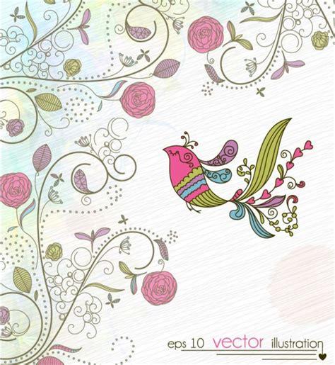 C Nel Flower Flat uccello dipinta sfondo floral design scaricare vettori
