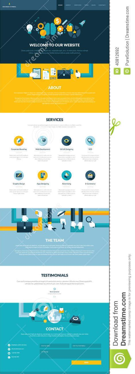 One Page Website Design Template In Flat Design St Stock Vector Image 40812692 1 Page Website Template