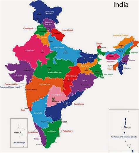 indian states list of states and capitals of india union territories