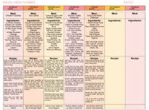 7 day menu planner template 7 day menu planner template