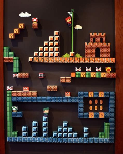 Papercraft Mario Bros - mario bros 8 bit papercraft magnet diorama giochi