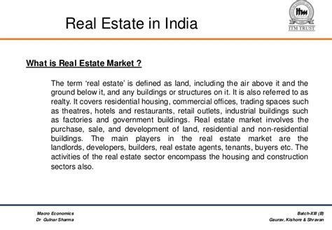 Mba In Real Estate In India by Real Estate Fdi In Real Estate In India