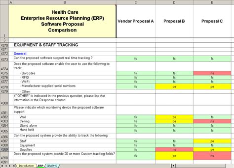 software vendor comparison template healthcare erp software evaluation selection