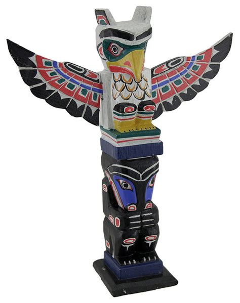 Wine Barrel Home Decor by Northwest Coast Inspired Colorful Wooden Eagle Totem Pole