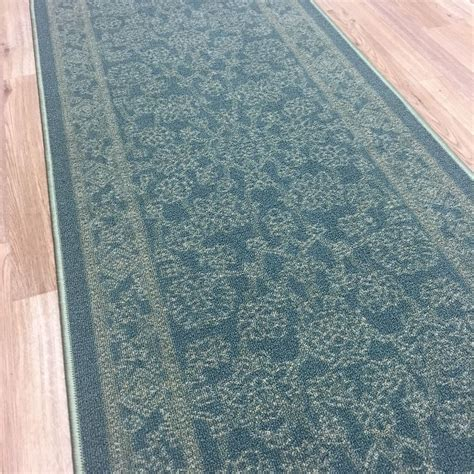 rubber backed rugs runners custom size stair hallway runner rug rubber back traditional teal blue ebay