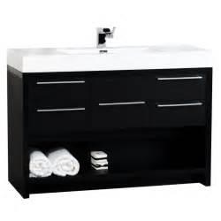 bathroom interior design with black wooden bath vanity