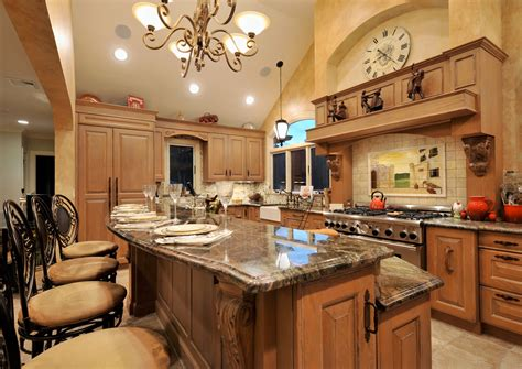 Kitchen With Island Design by Old World Mediterranean Kitchen Design Classic European