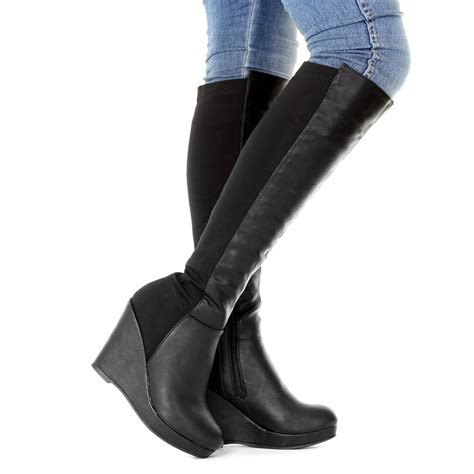 thigh high boots with wedge heel womens wedge heel platform knee high slim fit