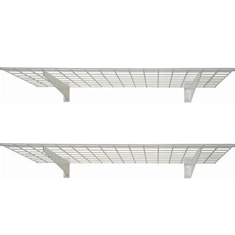White Wire Wall Shelf Hyloft 2 Shelf 45 In W Wire Garage Wall Storage System In