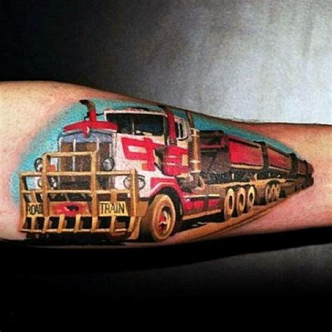 tattoo of us trailer 60 truck tattoos for men vintage and big rig ink design