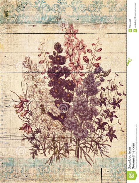 Flowers Botanical Vintage Style Wall Art With Textured