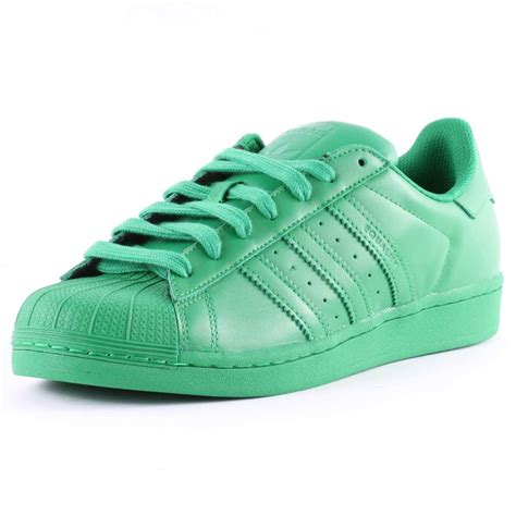 adidas superstar supercolour womens leather green trainers new shoes all sizes