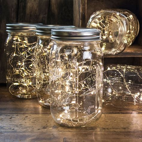 Mason Jar Fairy Lights Wide Mouth Quart Jars Warm White Lights In Jars