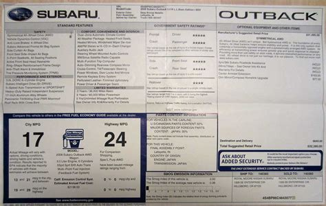 subaru outback decals subaru window stickers monroney labels various years models
