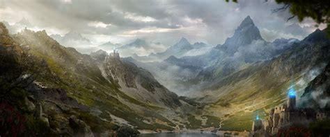 fantasy artwork art landscape nature castle city cities
