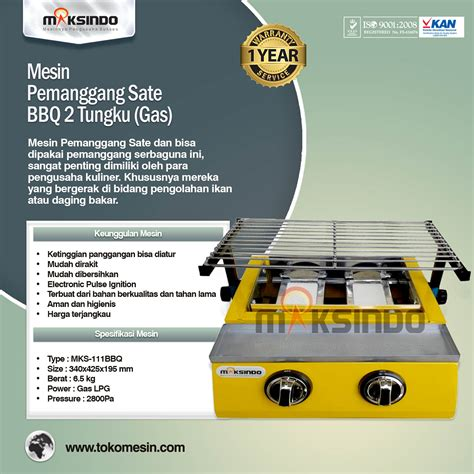 Tungku Pemanggang jual mesin pemanggang sate bbq 2 tungku gas di tokomesinsolo tokomesinsolo