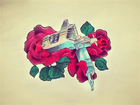 tattoo machine project 4 gallery tattoo machine and roses on behance