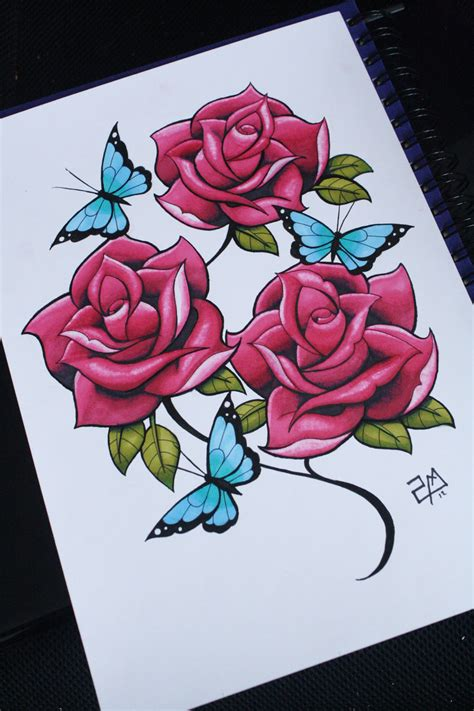 how to draw a traditional rose tattoo hoontoidly roses drawing images