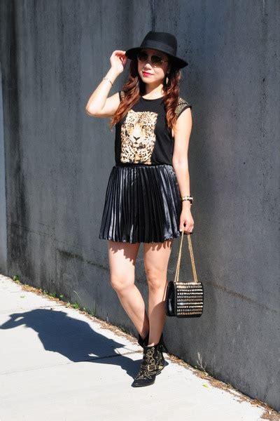 black pleated skirt h m skirts black studded boots bebe