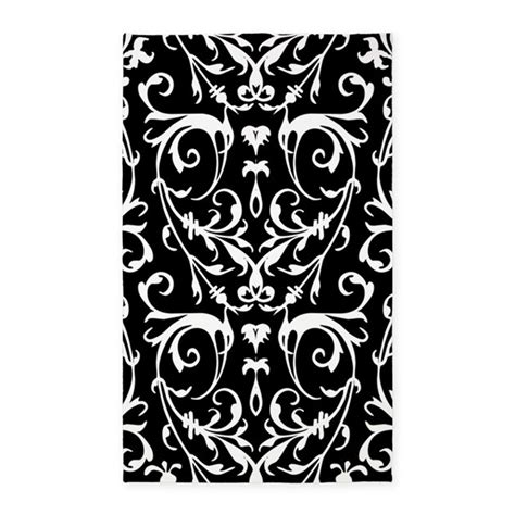 black and white pattern area rug black and white damask pattern 3 x5 area rug by