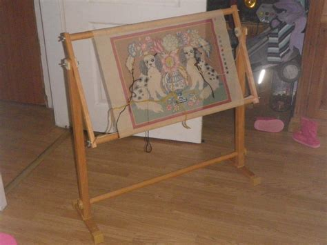 cross stitch embroidery tapestry floor wooden frame floor
