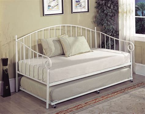 bt01wh series white metal twin size day bed frame with
